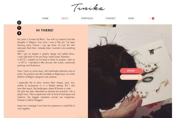 artist website example of including clear CTAs on an about page - Artist: Tinneke De Block