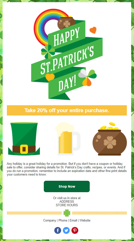 Constant Contact St Patrick's Day Promo email template