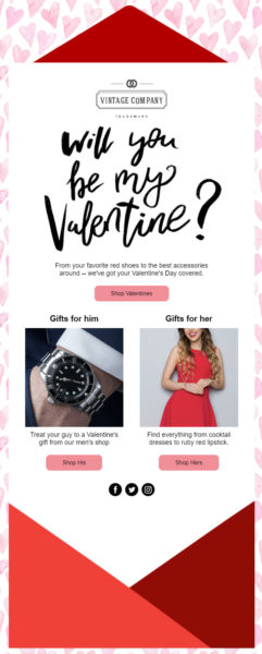 Valentine's Day email template - promo for ecommerce stores