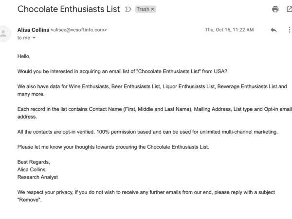 Email marketing mistakes example