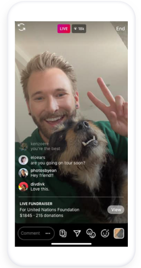 Instagram Fundraising using the live donation optoion