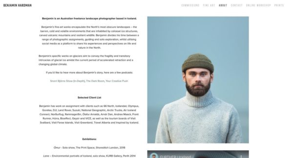 artist profile example - Benjamin Hardman