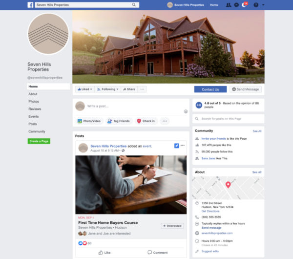 real estate social media post on a facebook business page