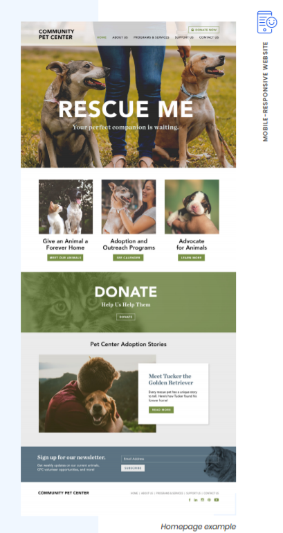 Nonprofit branding - homepage with donate options clear and easy