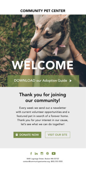 welcome email - nonprofit