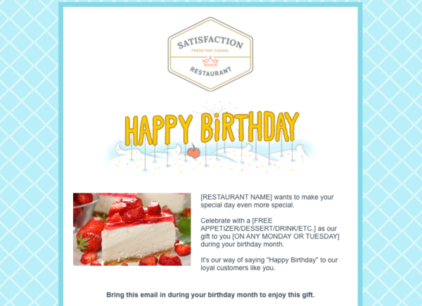 email automation example - birthday email