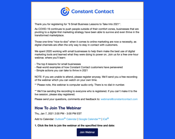 automated webinar email