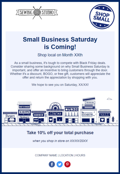 Holiday Email Templates -  Small Business Saturday template