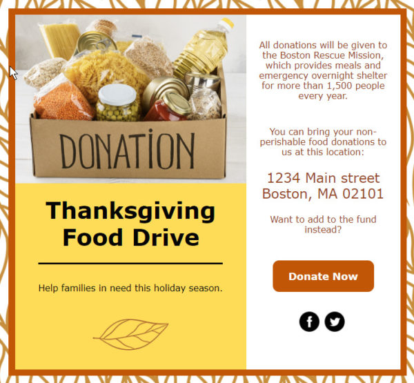 holiday email template - Thanksgiving food drive