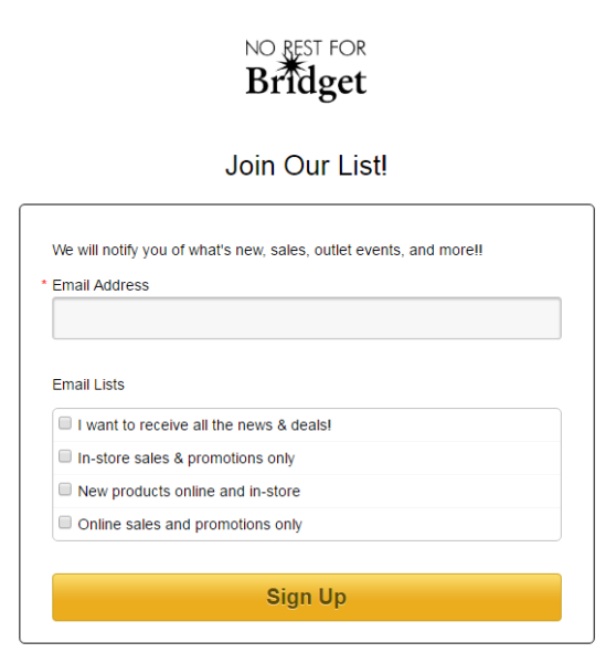 Another way to use travel market segmentation is to allow new email sign-ups to choose what list they want to be on