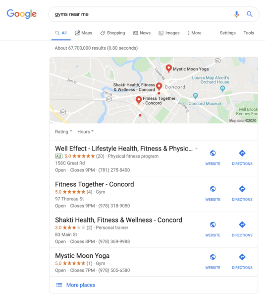 personal training marketing includes improving local SEO