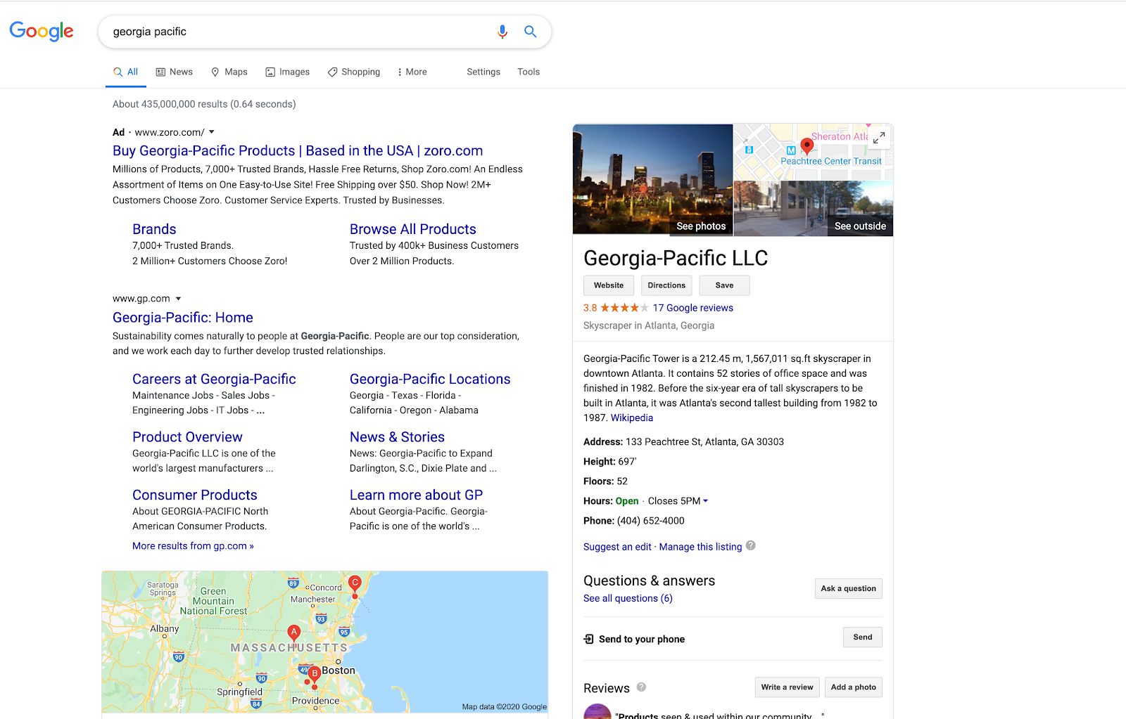 Google search result showing a business listing