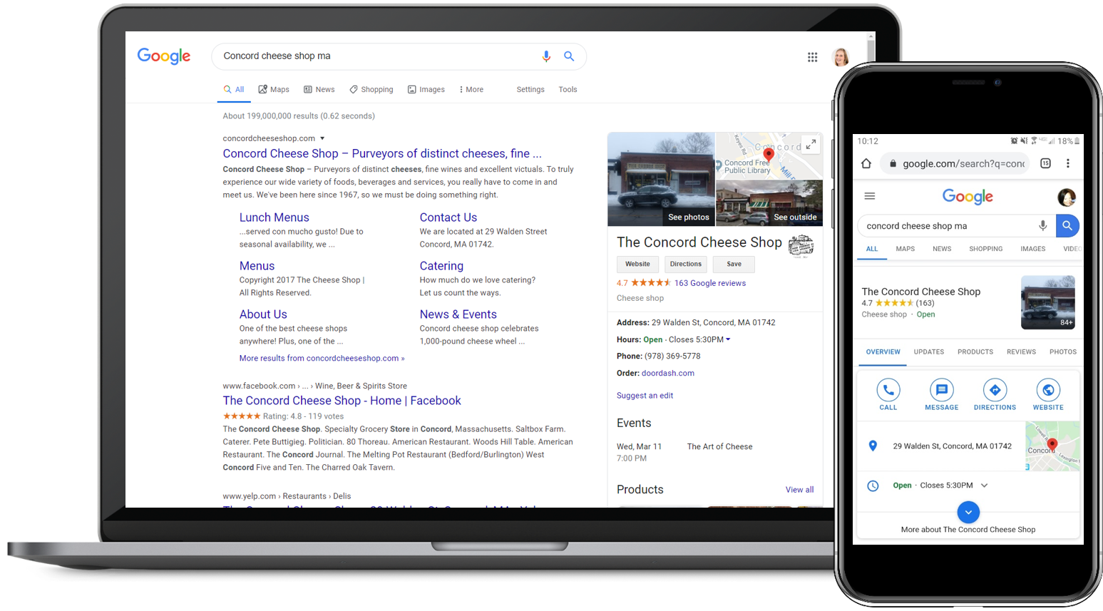 Example of Google search results for a specific business, showing listing and review score