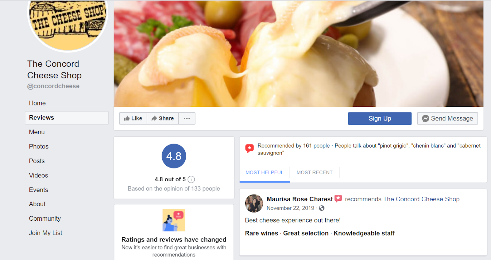 Example of reviews on Facebook business page