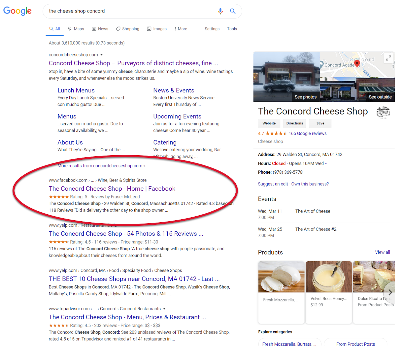 Example of how a business's pages show up up in a typical online search - 1st is website, 2nd is Facebook business page and 3rd is Yelp