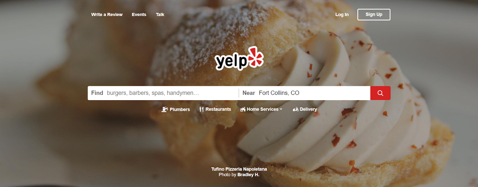 Yelp listing and review search page