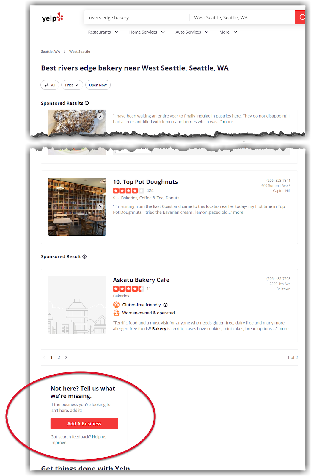 Yelp lets you claim your business right from their search results page