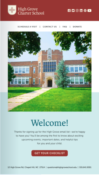school branding includes newsletters and marketing campaigns that match the website