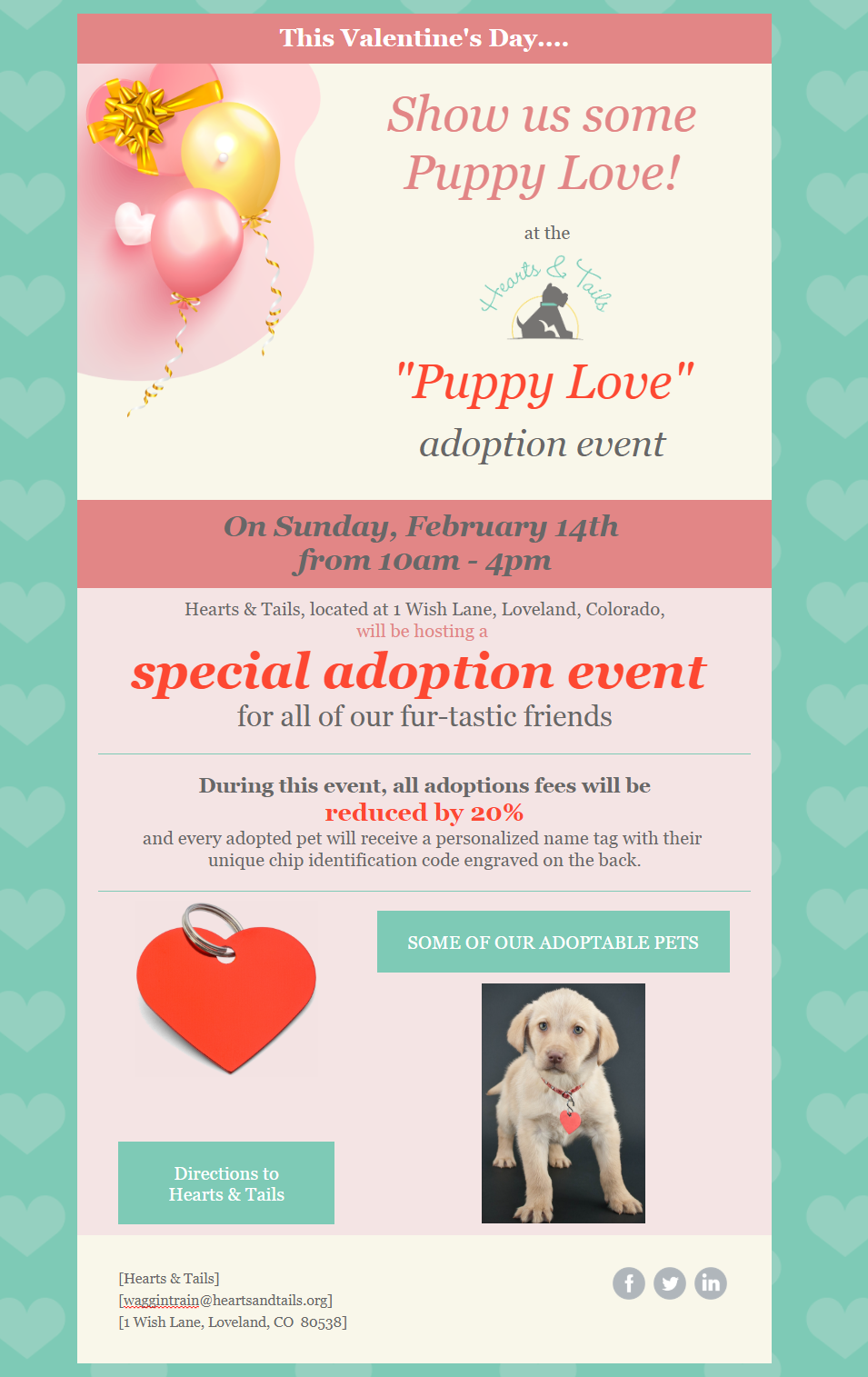 Constant Contact Valentine's Day Sale template turned into a nonprofit fundraising event invitation