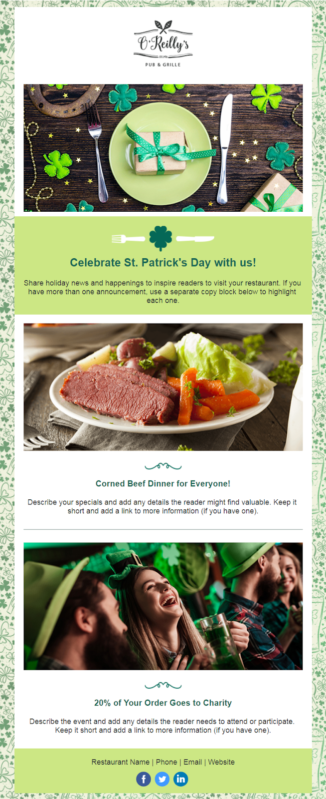 Constant Contact Saint Patrick's Day party invitation