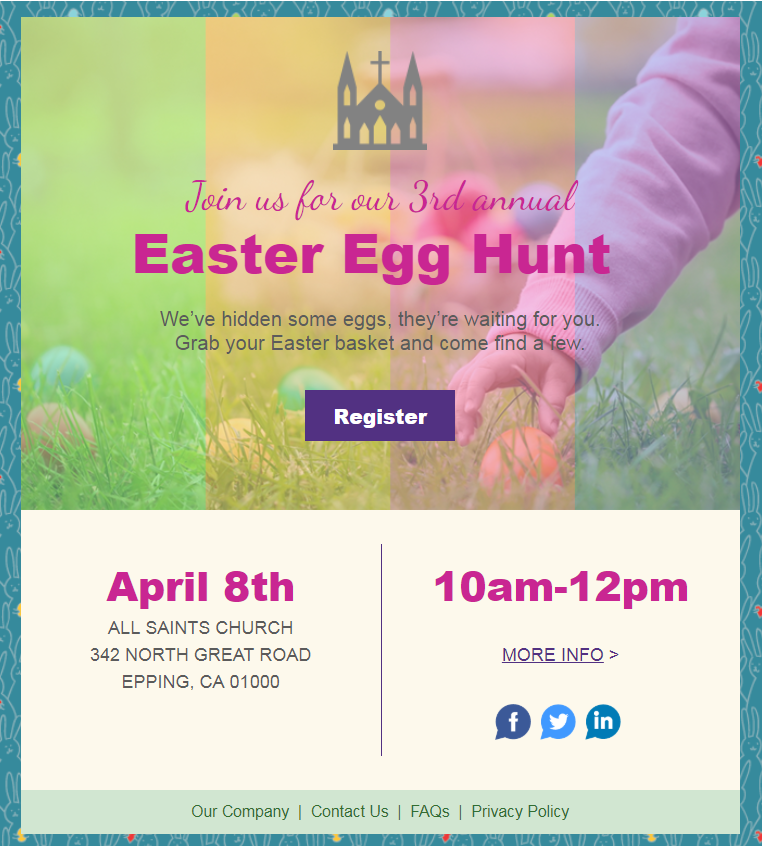 Constant Contact Easter Egg Hunt event invitation template