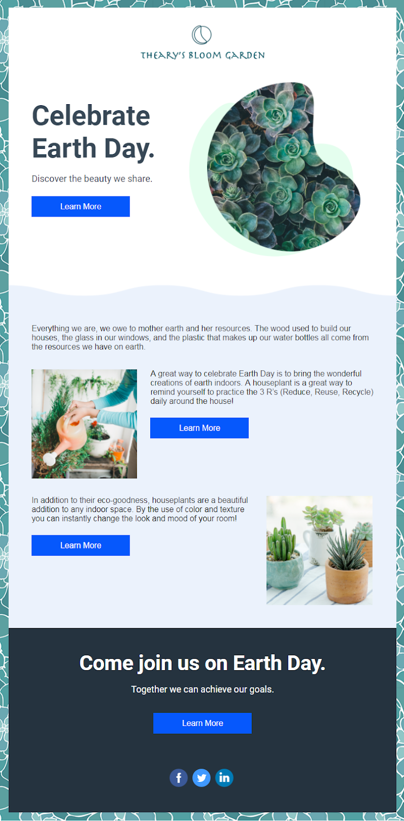 Constant Contact Earth Day email template