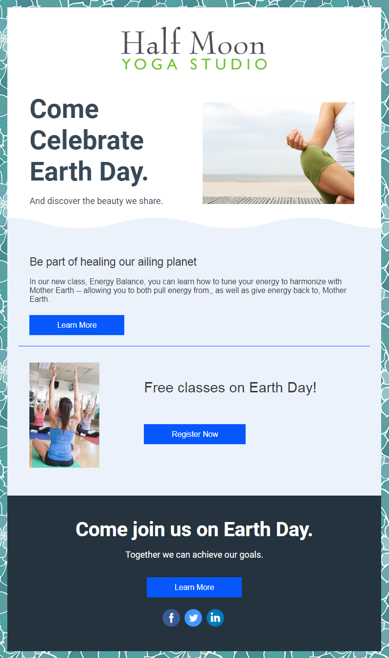 Constant Contact Earth Day email template turned into email invitation for free event
