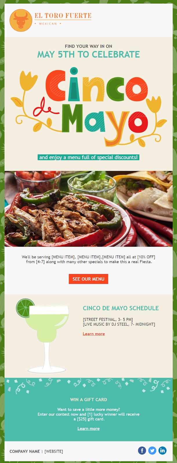 Constant Contact Cinco de Mayo restaurant email invitation template