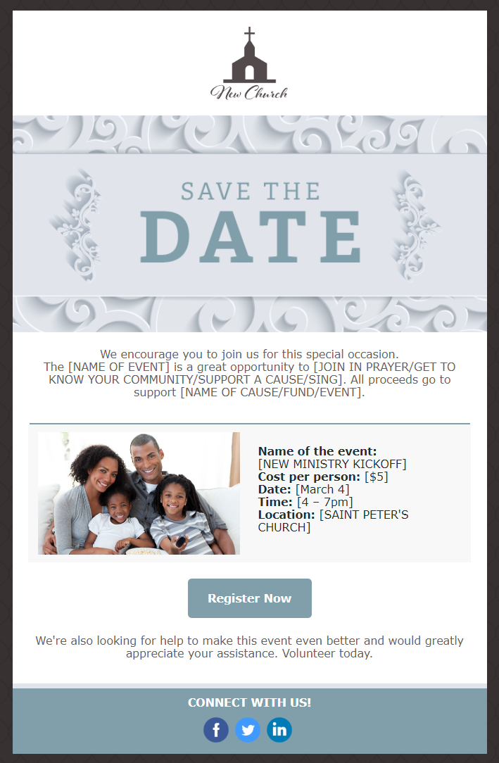 Constant Contact Save-the-date email template
