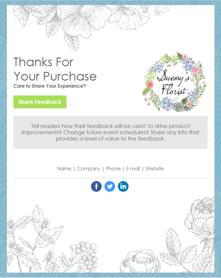 Constant Contact Florist's Thank you email template