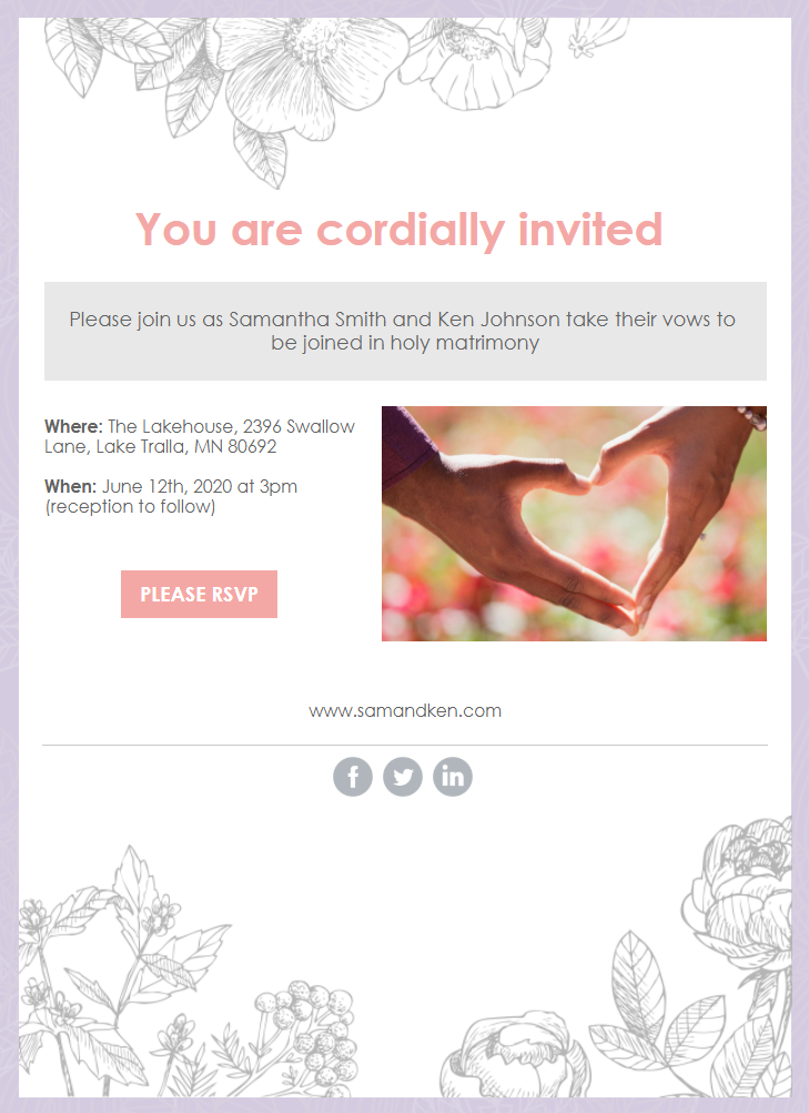 Constant Contact Florist's thank you email template turned into a summer wedding invitation