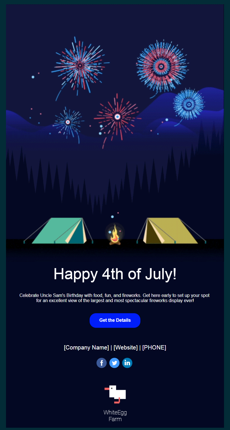 Constant Contact 4th of July email invitation template desktop view