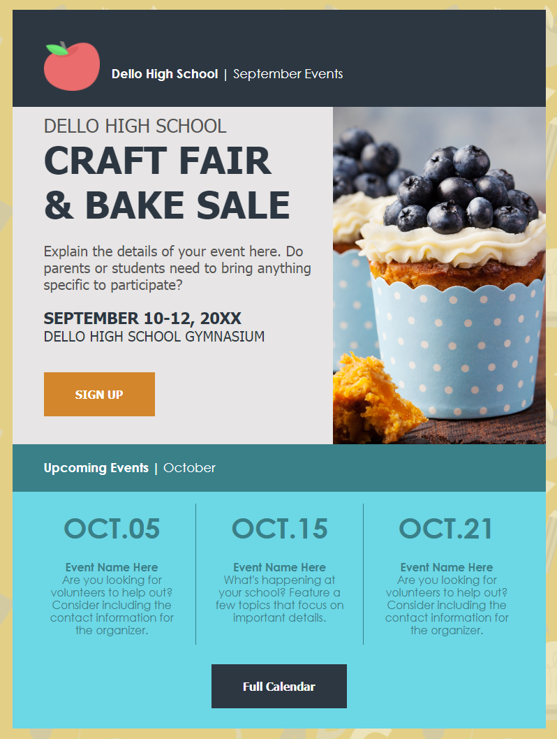 Constant Contact bake sale email invitation template