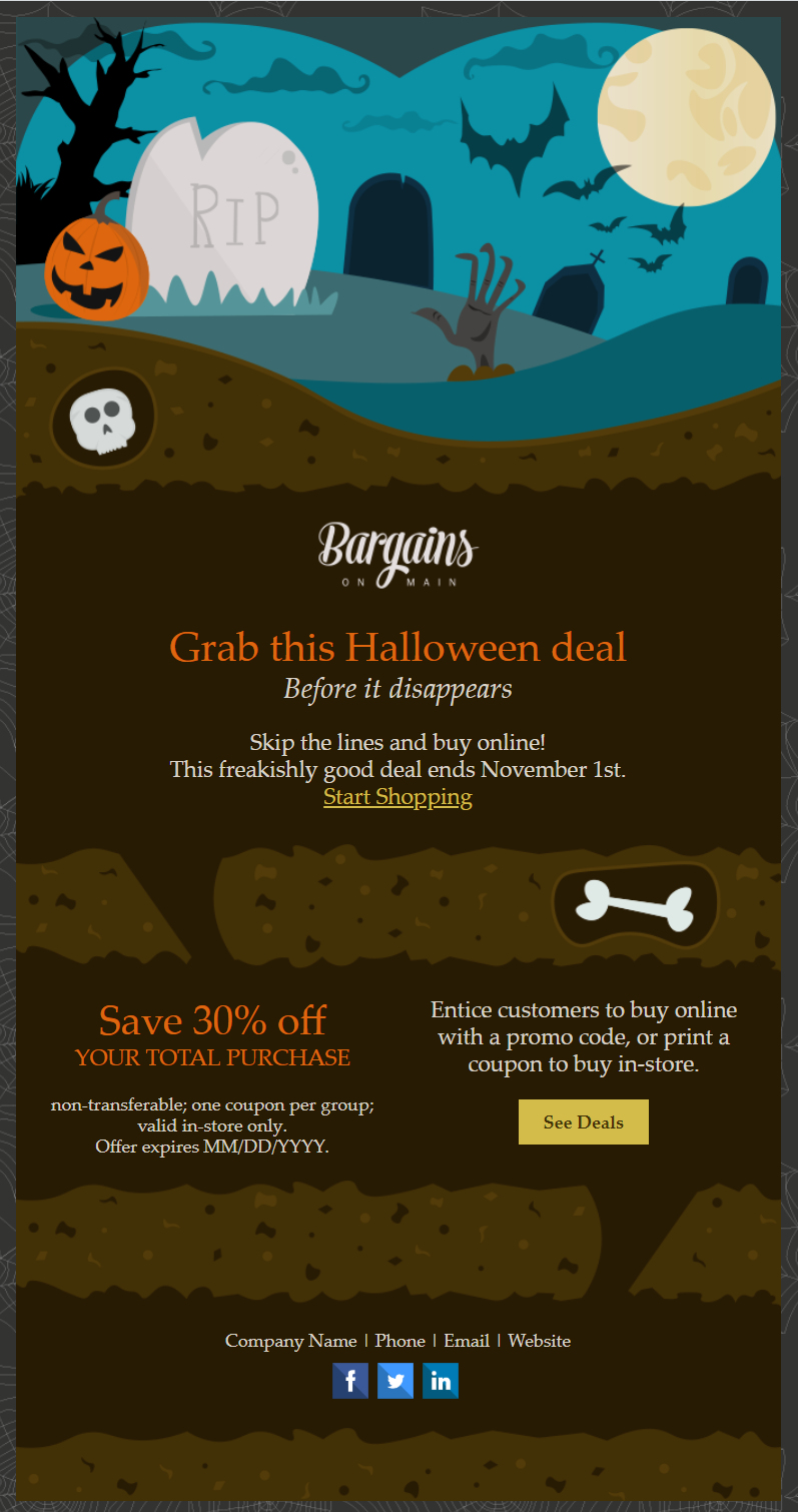 constant contact halloween email invitation template