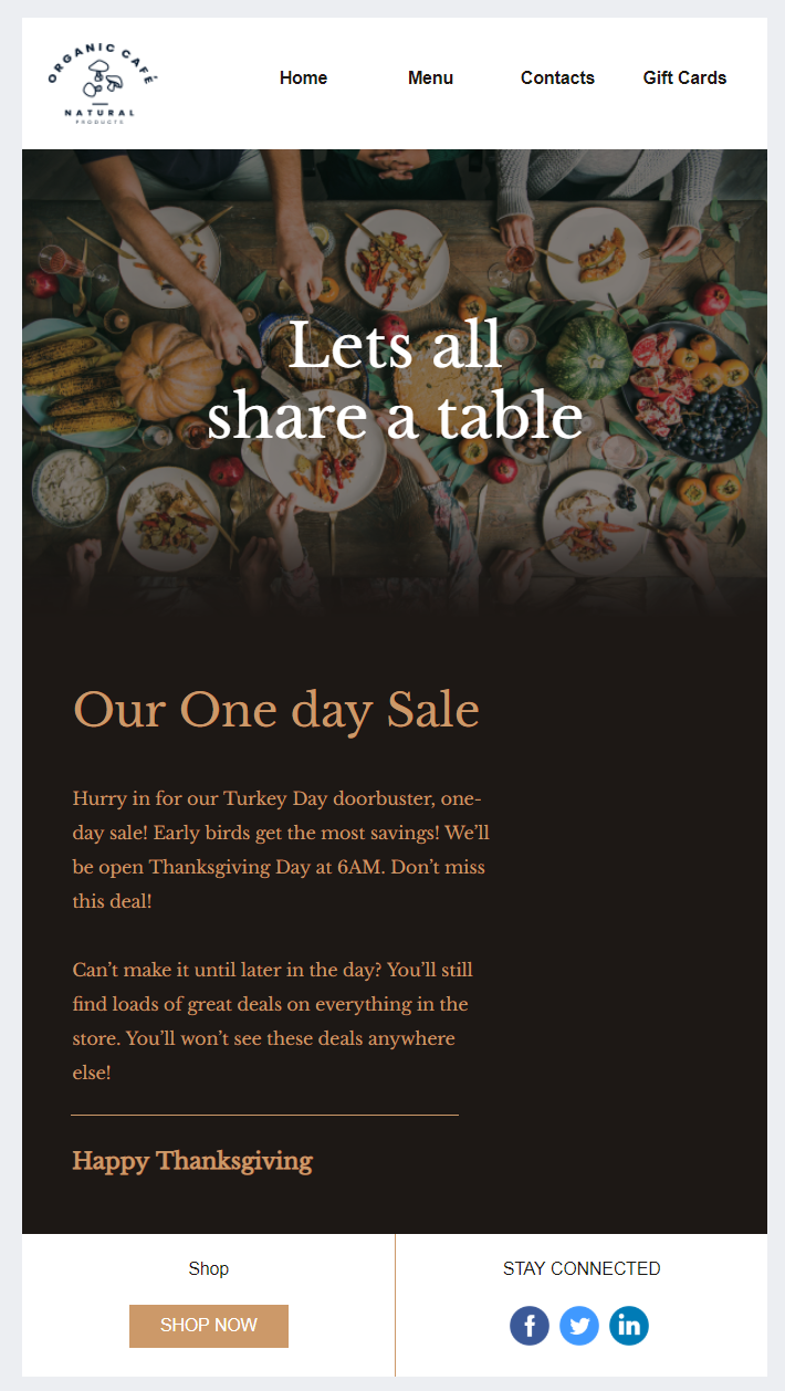 Constant Contact Thanksgiving Day sale template would make a great email invitation template due to its exclusive imagery