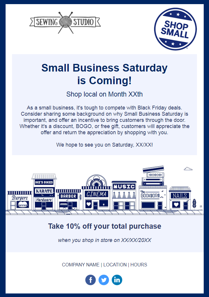 constant contact small business saturday template is perfect for creating an email invitation template