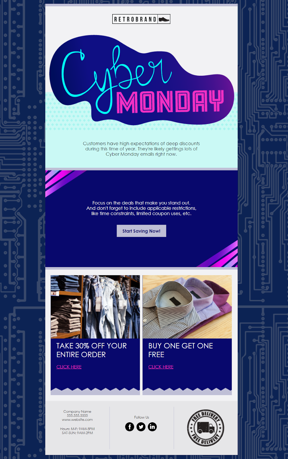 constant contact cyber monday email template is great for an invitation because of its exclusive imagery and background