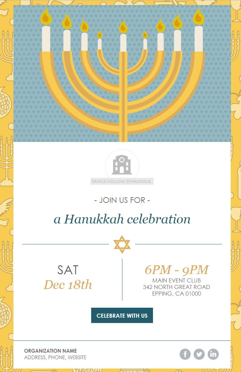 constant contact hanukkah celebration email invitation template