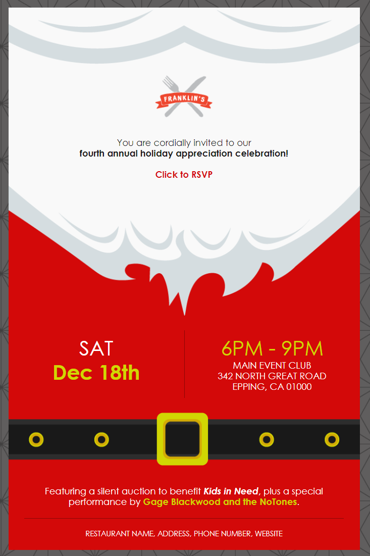 constant contact santa themed holiday celebration event invitation template