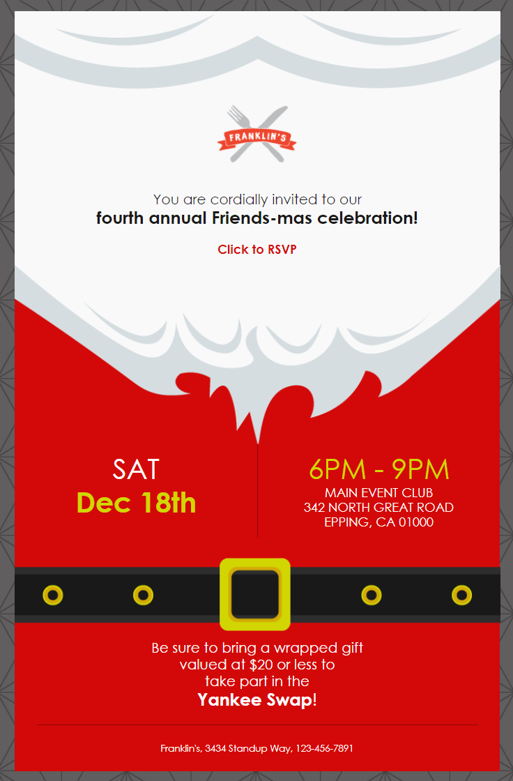 constant contact santa themed holiday celebration event invitation template turned into a Friends-mas invitation