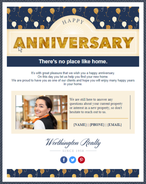 real estate email templates for anniversaries
