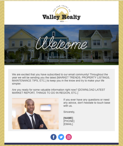 real estate email templates for a welcome series