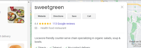Sweetgreen used Google My Business Optimization to include a fun and punchy profile