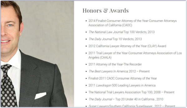 attorney bio with honors and awards separated out from the prose
