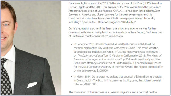 attorney bio that is written in long prose with lengthy bulleted points