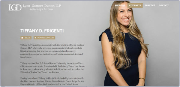 attorney bio with a friendly-looking photo, with the attorney relaxed and smiling yet professional