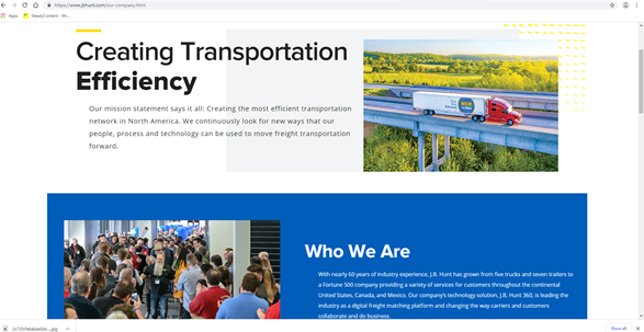 A logistics website needs an about page that gives you a change to shine