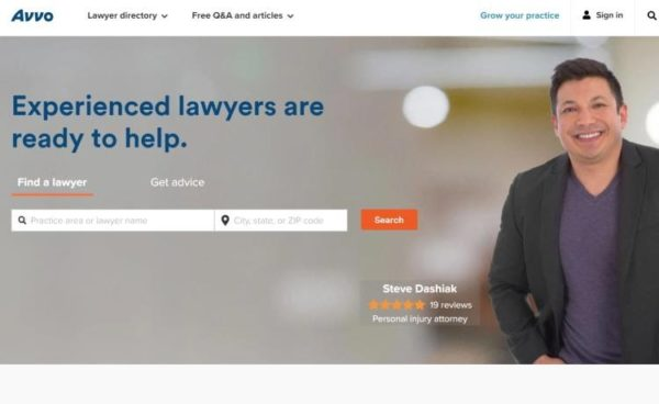 "Lawyer Directories - list of 20 directories - ""Avvo"" home page"