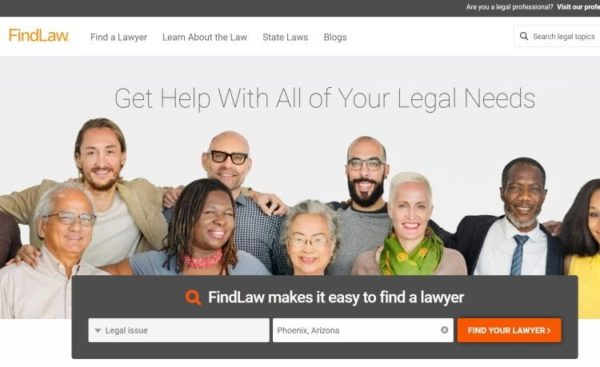 "Lawyer Directories - list of 20 directories - ""FindLaw"" homepage"