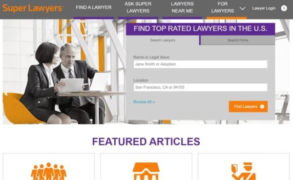 "Lawyer Directories - list of 20 directories - ""Super Lawyers"" homepage"